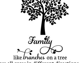 Family Tree Vinyl Wall Decal Sentiment - Pesonalize - Great wedding, engagement, birth, new home, anniversary gift