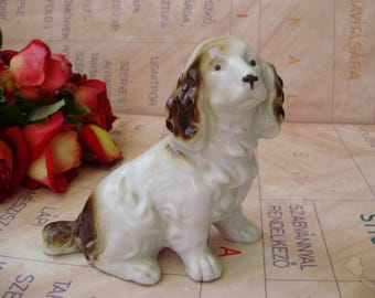 Vintage porcelain ,dog,puppy,animal figurine, spaniel puppy ,handpainted