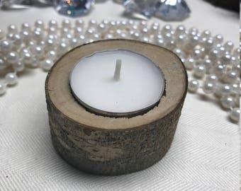 Rustic wedding wood candle holder