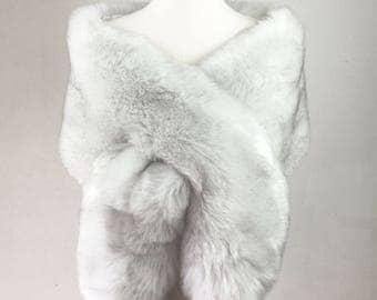 light gray fur shawl, Ivory fur bridal wrap, Wedding Fur shrug, faux Fur Wrap, Bridal Faux Fur Stole Fur Shawl Cape, wedding faux fur wrap