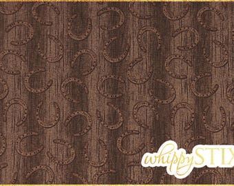 Horseshoe Fabric By the Yard, Countryside by Hautman VIP Exclusive Cranston 45371, BTY Wooden Background Cowboy Cotton Fabric Hard to Find