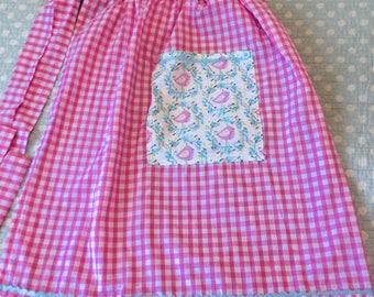 New vintage style handmade half apron - punk gingham with pastel bird pocket