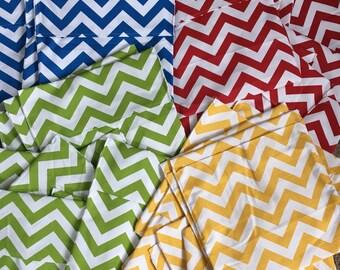 "Set of 4 15"" wide durable chevron print duck cloth seat sacks, chair pockets"