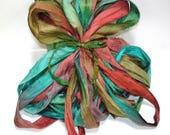 5 & 10YD. ATLANTIS  Sari Silk Ribbon Bundle//Dyed Silk Sari Ribbon Bundle//Sari Tassels,Sari Wall Decor,Sari Fiber Jewelry,Sari Tapestry