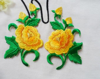 SET ~ 2 badges fusible applique yellow flower