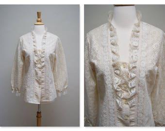 Vintage Edwardian Lace Blouse ⎮ 70s Ivory Lace Boho Blouse ⎮ 1970s Long Sleeve Ruffled Top