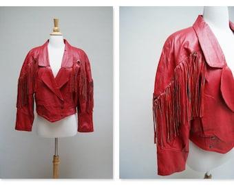 Vintage 1980s Fringe Jacket ⎮ 80s Red Leather Jacket ⎮ Boho Biker Jacket