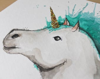 Unicorn. Original Aquarellle on paper. Turquoise, gray, black and gold. 8 x 10 inches.