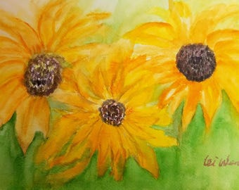 Sunflower painting, sunflower watercolor, watercolor, original watercolor painting, 7x10, birthday gift, wedding gift, small paintings, love
