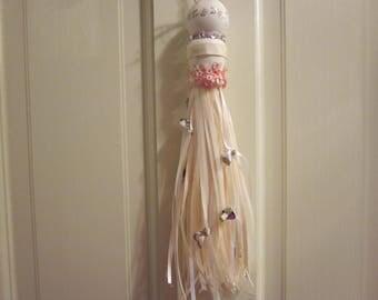 Pretty White Painted Wood - Ribbons Tassel