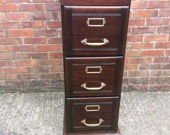 Antique Mahogany Wood Filing Cabinet