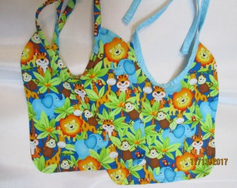Jungle Animals Baby Bibs! Reversible to Monkey Pattern or Blue Splattered Print. Colorful! Baby Shower Gift! 100% Cotton. Photo Prop!