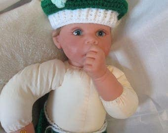 St. Patrick's Day Hat and Diaper Cover with Shamrock- Costume Great Photo Prop!
