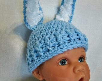Blue Bunny with Fluffy Ears and Tail! Hat and Diaper Cover! Cute Easter Photo Prop! Baby Boy Accessory! Easter Outfit!