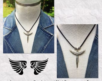 New Arrival!  Angel Wings Pendant Necklace with Silver Embossed Beads and Black Suede Leather Cord