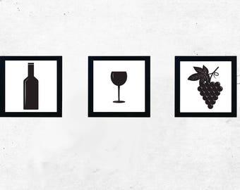 Instant Download, Kitchen Art, Wine, Pictures