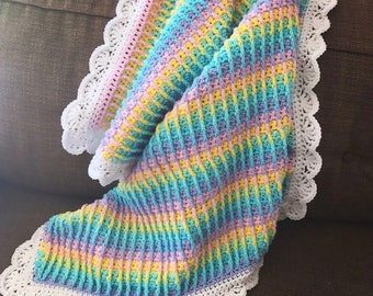 Handmade Crochet XL Square Rainbow Striped Baby Blanket Ready To Ship ~SHIPS FREE~