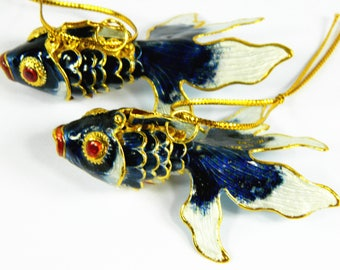 "A Pair of 2.7"" Chinese Dark Blue RCloisonne Copper Enamel Articulated Goldfish Koi Fish Figurine,Make Pendant Earrings Jewelry or Ornament"