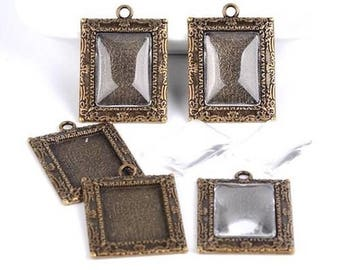 5 pendants Medallion cabochons sets bronze 5 cabochons