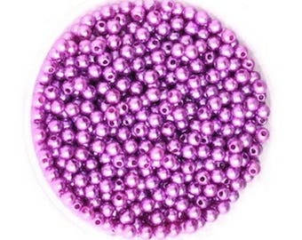 100 beads purple acrylic Pearl Intercalaires