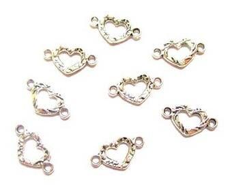 20 antique silver heart connectors