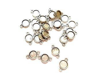 10 round antique silver connectors (suitable for Cabochon 8.3 mm Dia)