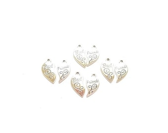 """10 sets antique character engraved words """"BEST FRIENDS engraved silver heart pendants"""
