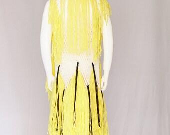 Wool Net Vest Cape with Fringe, Urban Boho Chic Designer Cape Oversize Unisex Cloak perfect for Festivals Streetwear and Burning Man
