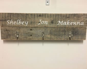 Personalized Entry Hall Sign, Customs Coat Rack, Rustic Coat Rack, Primative Coat Rack, Farmhouse Chique Sign with Hooks, Sign with Hooks,