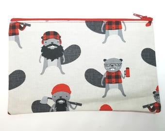 Steel Burly Beaver Fabric Zipper Pouch // Lumberjack Beaver Pouch // Stocking Stuffer