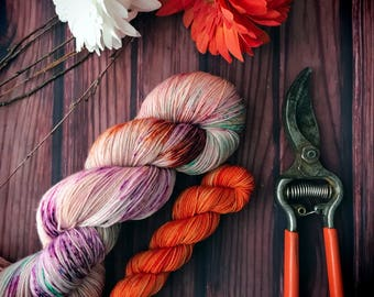 Sock Set, Hand Dyed Yarn, Indie Dyed Yarn, Sock Yarn, Full Skein + 20g Mini - Wildflowers