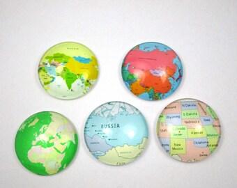 Set of 5 cabochons 25 mm - world maps - 4