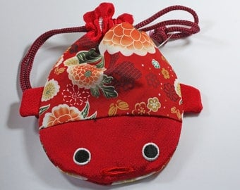 Fish sewing storage pouch Japanese fugu Red