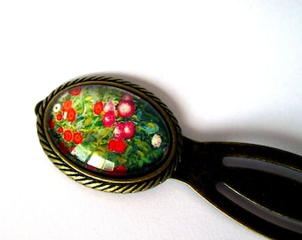 Bookmark cabochon bronze - Monet - Giverny flowers