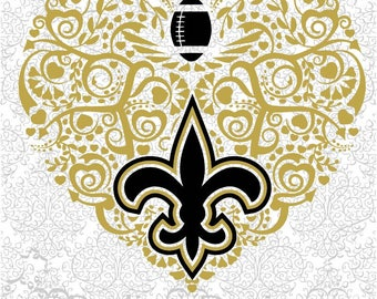 Football New Orleans Saints Heart SVG and DXF