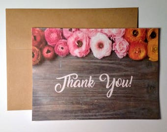 wooden floral thank you card