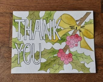 Holiday Thank You Card, Thank You Card, Christmas Card, Holiday Card