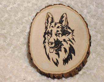 Wood Burned Dog Plaque