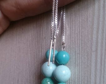 Natural turquoise round beads long thread dangling earrings sterling silver