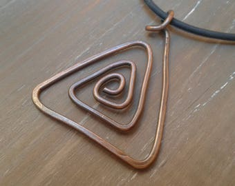 Copper spiral pendant, necklace, pendant triangle, triangle, anniversary, 7 year