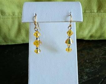 Swarovski crystal sunflower AB dangle earrings