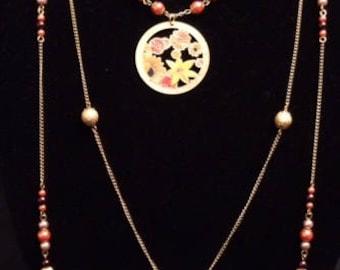 Brown, Orange, and Mauve Gold Multi-Strand Interchangeable Necklace, 3 Necklaces in 1, Multi-Strand Beaded Necklace, Multi-Strand Necklace