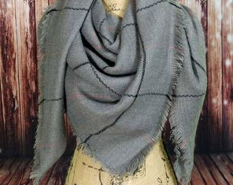 WINTER MARKDOWN Gray Blanket Scarf, Tartan Scarf, Plaid Scarf, Zara Scarf, Oversided Scarf, Shawl, Wrap