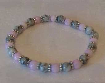 Pink and grey stretch bead bracelet