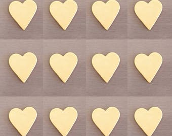 12 x Gold Fondant hearts, wedding decorations, heart decorations, edible hearts
