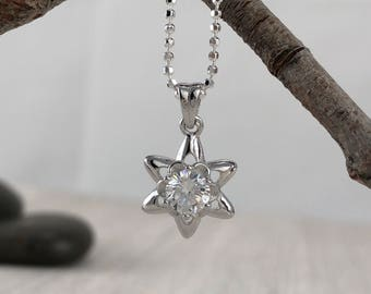 Silver Star Necklace, Cubic Zirconia Star, Sterling Silver Minimalist Jewelry, Star Necklace, Gift Ideas For Her, Christmas Jewellery