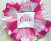 Baby girl full birthday outfit tutu tiara headband any age glitter one 1st two 2 princess pink top tshirt vest cake smash