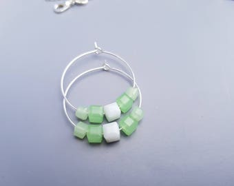 Hoop earring green and white