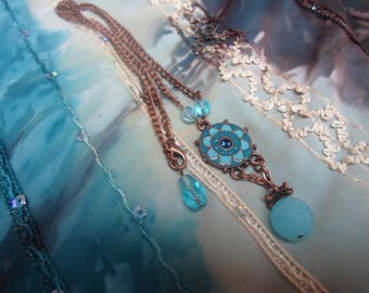 Turquoise and bronze necklace