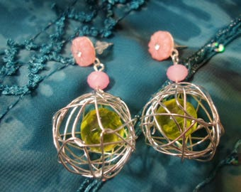 Apple green and pink earrings